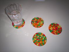 Melted Pony Bead Coasters -  Yes, just like the Suncatcher.  Use the cheap aluminum mini pie plates (the kind you throw away) + pony beads + 400 degree oven + 20-30 min.  They'll pop right out once cool.