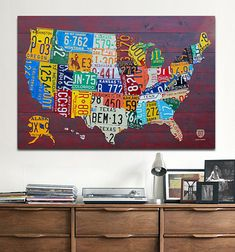 Wisconsin Counties Vintage Recycled License Plate Map Art On Red - Us map made out of license plates