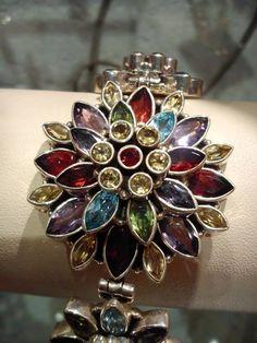 silver bracelet with semi precious stones