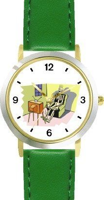 Skeleton Watching Television (TV) - WATCHBUDDY® DELUXE TWO-TONE THEME WATCH - Arabic Numbers - Green Leather Strap-Size-Children's Size-Small ( Boy's Size & Girl's Size ) WatchBuddy. $49.95