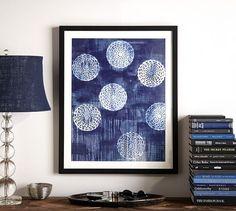 Framed Indigo Circles Abstract Print