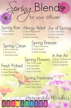 Spring Diffuser Blends - Homemade Wonders from Young Living Essential oils Essential Oil Diffuser Blends, Doterra Essential Oils, Young Living Essential Oils, Edens Garden Essential Oils, Doterra Diffuser, Yl Oils, Essential Oils Energy, Doterra Blends, Essential Oil Spray