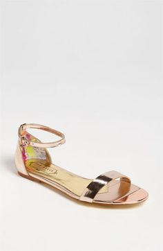 Ted Baker London 'Ballena' Sandal available at Nordstrom Gold Sandals, Shoes Sandals, Metallic Sandals, Heels, Neutral Sandals, Flats, Flat Sandals, Sock Shoes, Shoe Boots