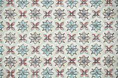 1940's Vintage Wallpaper - Geometric Wallpaper with Aqua Blue, Red, and Brown Geometric Design, $16/yard