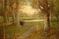 A peaceful autumn scene. Artist: Signed but no name stated; Title:. Landscape, fields, woman walking. From auction website Invaluable.