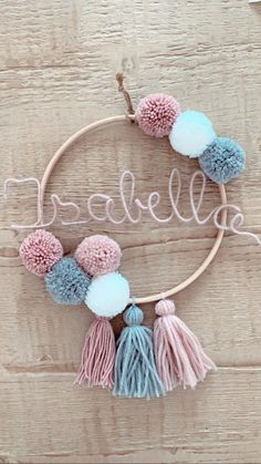 Name ring with bombings and tassels Diy Crafts Hacks, Diy Home Crafts, Cute Crafts, Diy Crafts To Sell, Pom Pom Crafts, Yarn Crafts, Macrame Patterns, Diy For Kids, Etsy