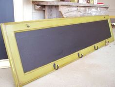 old cabinet - use chalk board paint and hooks on the bottom for ??