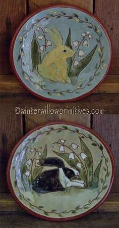 Redware Bunny Plate
