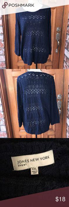 Beautiful dark blue crochet sweater Dark blue pull on crochet sweater Jones New York Sweaters