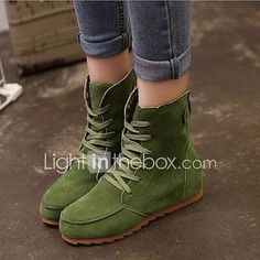Women's Shoes Faux Suede Wedge Heel Bootie/Comfort Boots Casual Black/Green/Red/Khaki 2017 - $12.99