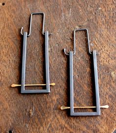 Shodo hoops- oxidized silver and gold modern geometric earrings; The small gold wires make a common design fresh.