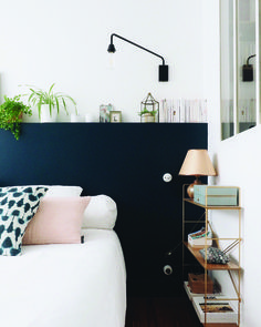 Nathalie wanted to create a peaceful and serene space, and opted to use Hague Blue on her walls to create this. Blue Accent Walls, Accent Wall Bedroom, Blue Bedroom, Bedroom Decor, Bedroom Ideas, Home Interior Design, Interior Architecture, Bungalow Bedroom, Hague Blue
