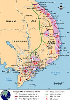 Map of the Tet Offensive during the Vietnam War