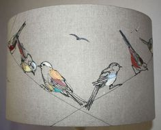 Lara Sparks Embroidery – Embroidered lampshades … just love ! Embroidered Bird, Bird Embroidery, Free Motion Embroidery, Embroidery Stitches, Embroidery Designs, Freehand Machine Embroidery, Machine Embroidery Patterns, Gravure Photo, Kandi Patterns