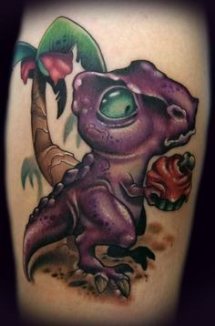 funny cartoon tattoo design dinosaur cupcake cute brilliant