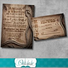 Rustic Wedding Invitation with matching response card - DIY - Printable - Customizable - Western. via Etsy.