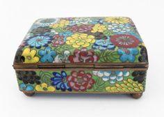 Vintage Cloisonné Cigarette Box and Match Holder with Floral Motif 4