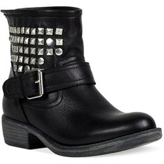 Steve Madden Women's Booties, Outlaw Studded Booties ($90) ❤ liked on Polyvore