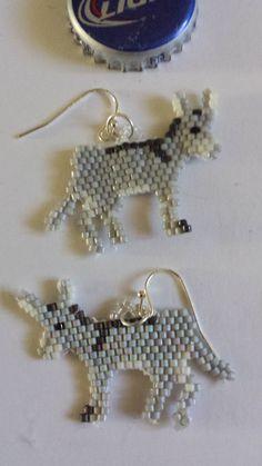 Hand Beaded Christmas Donkey Earrings by FaeryWolfsFancies on Etsy
