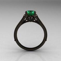 Black Gold Engagement Rings Etsy