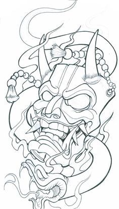 Demon Mask Tattoo Designs Chinese mask tattoo meaning Tattoo Design Drawings, Tattoo Sketches, Drawing Sketches, Japan Tattoo Design, Drawing Ideas, Kunst Tattoos, Body Art Tattoos, Sleeve Tattoos, Irezumi Tattoos