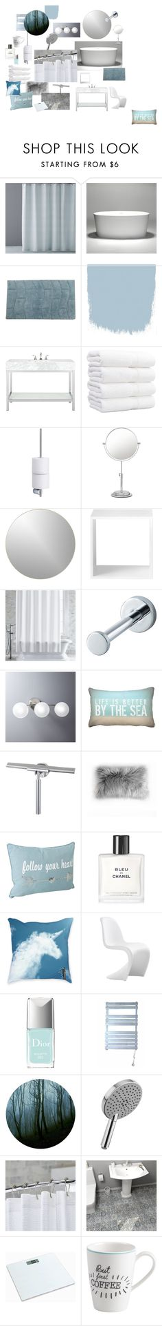 """""""Moody Blue Bathroom"""" by llaskujarvi on Polyvore featuring interior, interiors, interior design, home, home decor, interior decorating, Hudson Park, Home Decorators Collection, blomus and Universal Lighting and Decor"""
