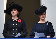 The Duchess of Cambridge and the Countess of Wessex (right), stand in a balcony as they observe the annual Remembrance Sunday Service