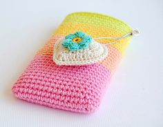 Crochet cell phone pouch - link to free tutorial