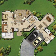 Home Design Floor Plans, House Floor Plans, Best House Plans, Modern House Plans, Cute Small Houses, Villa Plan, House Construction Plan, Sims House, Good House
