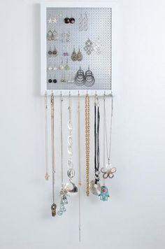Hook Earring & Necklace Organizer - 8x10 White Frame - Metal Screen