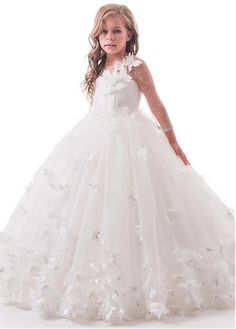Wedding Dresses Ball Gown, Elegant Tulle & Lace Jewel Neckline Length Sleeves Ball Gown Flower Girl Dresses With Handmade Flowers & Hot Fix Rhinestones DressilyMe Bridal Dresses Online, Pageant Dresses, Ball Dresses, Ball Gowns, Evening Dresses, Little Girl Dresses, Girls Dresses, Flower Girl Dresses, First Communion Dresses