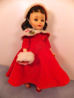 "Vintage 1958 American Character Doll Toni 10 1 2"" w Red Dress Hat Muff Set   eBay"