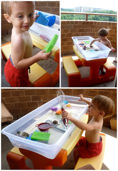 It's too hot to spend the day scorching at the park, but your toddler is going stir crazy sitting around indoors. So, it's time to get creat. Activities For Kids, Crafts For Kids, Water Day, Play Day, Cool Kids, Kids Fun, Toddler Fun, Creative Kids, Outdoor Fun