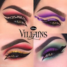 Are you ready for the upcoming Halloween? If you're planning, So come and see our best Halloween makeup photo collection. Disney Villains Makeup, Disney Eye Makeup, Maleficent Makeup, Disney Inspired Makeup, Ursula Makeup, Belle Makeup, Drugstore Makeup, Looks Halloween, Cool Halloween Makeup