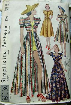 Simplicity 2791; ca. late 1930s; Misses' Dress in Two Lengths.