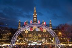 The holiday market in front of Wiener Rathaus, the city hall of Vienna.