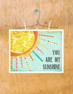 Art, You are My Sunshine, Girl Nursery Toddler Decor 8 by 10. $20.00, via Etsy.