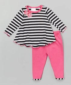 This Black & White Stripe Swing Top & Leggings - Infant is perfect! #zulilyfinds