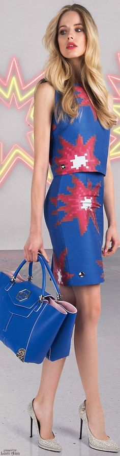 Philipp Plein ~ Resort Blue Print Mini w Cropped Top 2016
