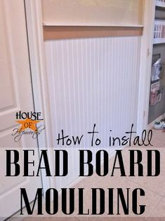 Here's a quick rundown on how to hang beadboard. Cut your beadboard to size. Then take Liquid Nails for paneling and put a bunch on the back of the beadboard. This will help it really stick to the wall.