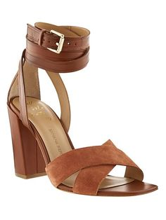 We've found your new go-to spring heels! These tan leather ankle wrap heels will go with everything from your weekend t-shirt and jeans look to your favorite sundress | Banana Republic