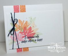 Simple but lovely, cheerful card. Uses strips of envelope paper, but those could be washi tape for even easier results! Mary Brown. sathopsab
