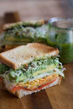Vegetarian Sandwich Recipes Very Vegan Jalapeno Pesto Sandwich (Vegetarian Recipes Healthy) Veggie Recipes, Whole Food Recipes, Cooking Recipes, Healthy Recipes, Delicious Recipes, Chicken Recipes, Catering Recipes, Pasta Recipes, Microwave Recipes