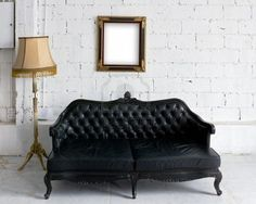 Antique couch, lamp, frame