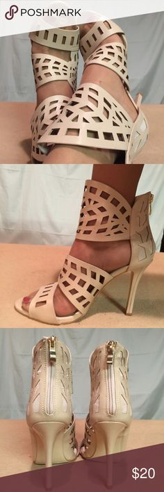 New Catherine Malandrino Beige Cage Style Heels These shoes are Brand New/Never Worn and are in PERFECT CONDITION. The heel height of this shoe is 4 inches tall. Size 7.5 but wear like a size 8. Catherine Malandrino Shoes Heels