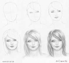 1001 + ideas for cool things to draw - photos and tutorials : easy drawings step by step, how to draw a female face, diy tutorial, black and white, pencil sketch Easy Drawings For Kids, Love Drawings, Drawing Sketches, Pencil Drawings, Drawing Faces, Art Drawings, Easy Drawing Steps, Step By Step Drawing, Art Simple