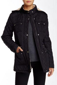 Faux Fur Trim Short Hooded Jacket by Tommy Hilfiger on @nordstrom_rack