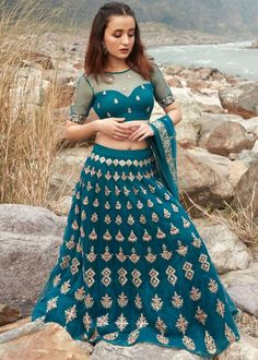 #blue #embroidery #lehenga #choli #dupatta #indianwear #traditional #outfit #beautiful #bride #new #designer #collection #ootd #wedding #time #womenswear #online #shopping