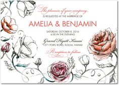 Illustrated Love - Signature White Textured Wedding Invitations in Begonia or Coral | East Six Design