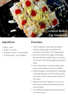 Grated Boiled Egg Sandwich is a quick, easy, super yummy and super healthy breakfast recipe. A protein-rich recipe for your kid's lunch box. Schezwan Chutney, Schezwan Sauce, Egg Recipes, Indian Food Recipes, Boiled Egg Sandwich, Sandwich Maker Recipes, Taste Recipe, Cooking Competition, Sandwich Ingredients